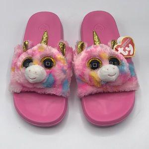TY Beanie Boos Fantasia Unicorn Slide Slippers 4-6